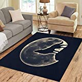 Pinbeam Area Rug Werewolf Howling Wolf Full Moon Native Wicca Silhouette Home Decor Floor Rug 3' x 5' Carpet