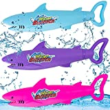 3 Pack Water Guns for Kids, Cartoon Shark Toy Water Spray Guns for Children and Adults Long Distance Water Squirt Guns, Perfect for Boys and Girls to Play at The Beach or Swimming Pool in Summer