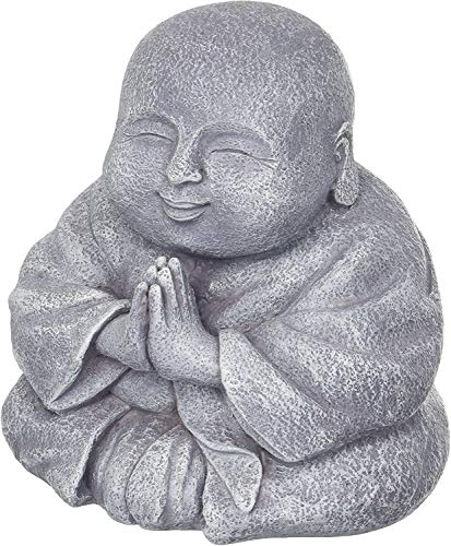 Happy Praying Buddha Statue Figurine - Home and Garden Laughing Buddha Decoration - Fat Smiling Buddha Sculpture Decor, Indoor and Outdoor Use - 5x7x7 inches