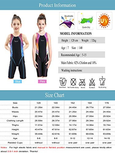 Peacoco Girls' Solid Splice Athletic One-Piece Swimsuits Racerback Competitive Legsuit