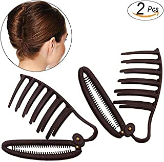 2pcs Women DIY Fast Styling Volume Insets Hair Clip Hair Comb Boost Comb French Twist Maker Boost Hair Up Maker Tool Set Hair Styler Party Hair Accessories (Dark brown)