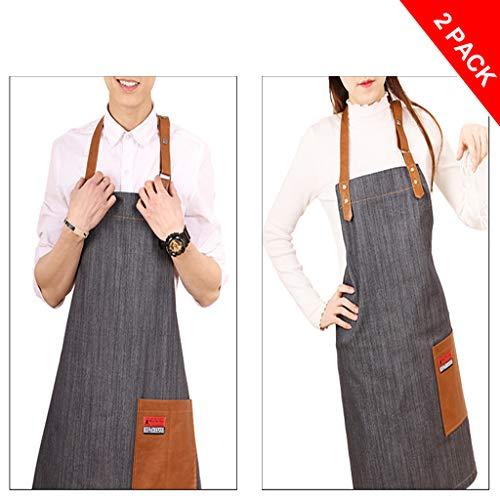 2 stuks jeansschort met zakken voor mannen en vrouwen - gepersonaliseerd schort met foto tas en tekst | keukenschort voor restaurant tuin Grijs