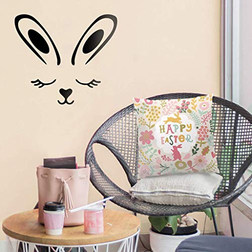 Easter Bunny Art Murals Wall Sticker for Bedroom Easter Egg Window Sticker Removable Refrigerator Stickers for Card Making Novelty Wall Decorative Graffiti Stickers Decal Glass Cling (A)