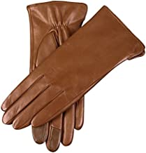 WARMEN Women's Touchscreen Texting Genuine Nappa Leather Glove Winter Warm Simple Plain Cashmere & Wool Blend Lined Gloves (Medium (7), Saddle Brown (2017 New Touchscreen/Cashmere Blend Lining))