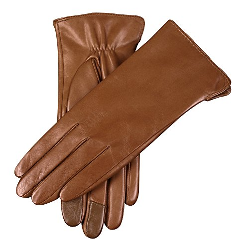 WARMEN Women's Touchscreen Texting Genuine Nappa Leather Glove Winter Warm Simple Plain Cashmere & Wool Blend Lined Gloves (Large (7.5), Saddle Brown...