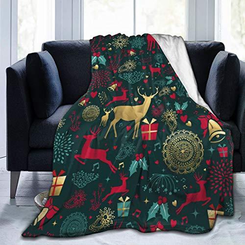 Green Haoke Feliz Navidad con Ciervos Dorados y Decoración Vintage para La Temporada Navideña Manta de Micropolar...