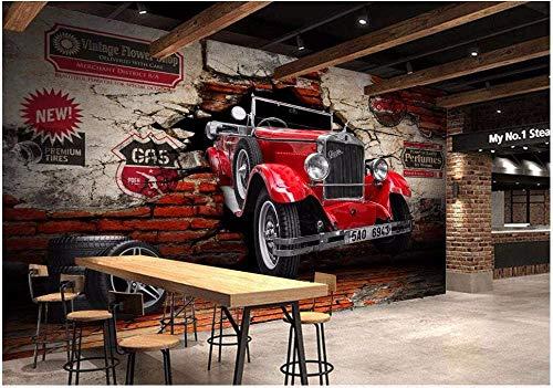 Wxlsl Benutzerdefinierte Wandbild 3D Fototapete Oldtimer Auto Gebrochen Wand Hintergrund Dekor Malerei 3D Wandbilder Tapete (400cmx210cm)