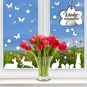 Fensterbild Frühling Hasen wiederverwendbare Fensteraufkleber Ostern Wiese Blumen weiß