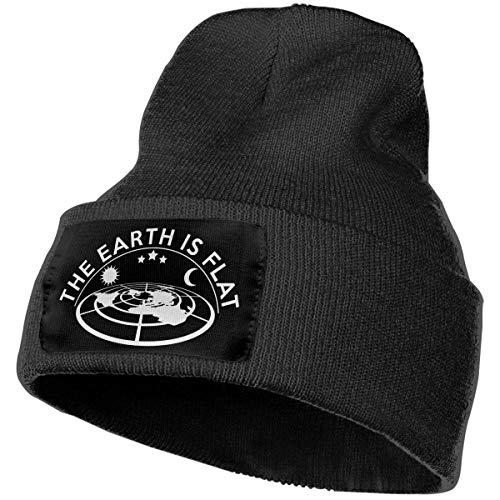 AEMAPE Sombrero de Punto Unisex Gorro de Calavera de Moda Sombreros de Punto - Logotipo de Tierra Plana
