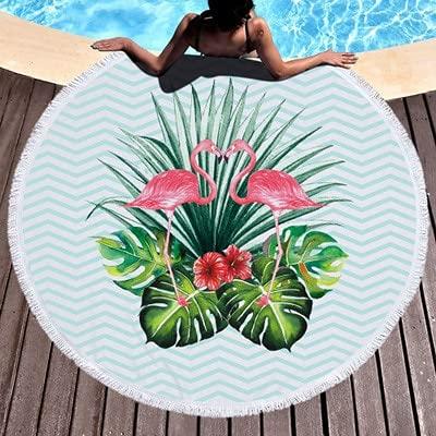 IAMZHL Toalla de Playa Redonda Absorción de Agua Borla Toallas de Playa Estera Toalla de baño 150cm-a1-150x150cm
