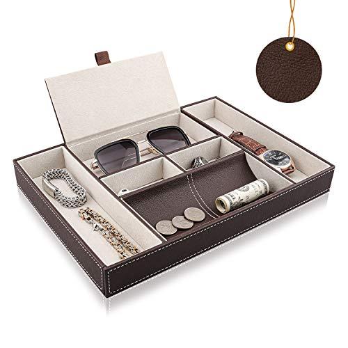 BY for Kitchen & Home Baoyun - Organizador de Piel para mesita de Noche para Hombre - Bandeja de Valet y Organizador Superior para Reloj, teléfono, Joyas, Llaves, Cartera, Color marrón