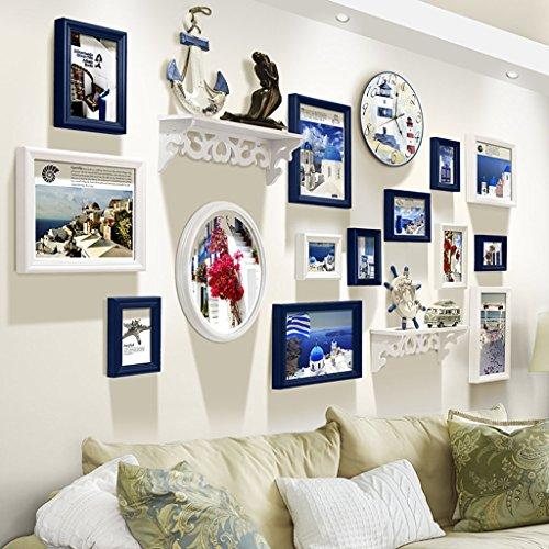Cadre décoratif Bois 14 Pcs/ensembles Collage Photo Frame Set, Cadres photo Vintage, mur de cadre photo famille, cadre photo de mariage bricolage cadre photo ensembles pour mur (Couleur : A)