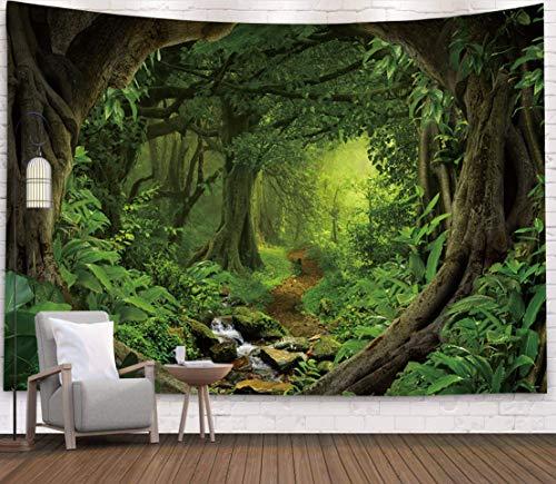 AZZXZONa Grüner Dschungel Wandteppich Wandbehang Schlafzimmer Schlafsaal Hippie Picknick Strand Tischdecke Trennwand Vorhang Wohnkultur Tv-Abdeckung Stoff 230X180Cm