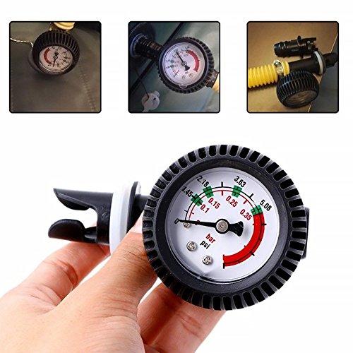 Medidor de presión inflable para lancha, medidor de presión de aire placstic 0-5.08 PSI barómetro para kayak inflable barco SUP tabla balsa