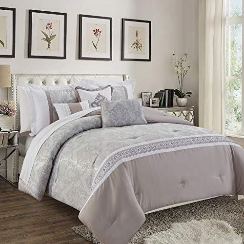 Oxford Homeware® Tagesdecke 220x240 cm Steppdecke Bettüberwurf Gesteppt Bett Decken Jacquard Bettwäsche + 2 Kissenbezüge (Claudia Taupe Grau)