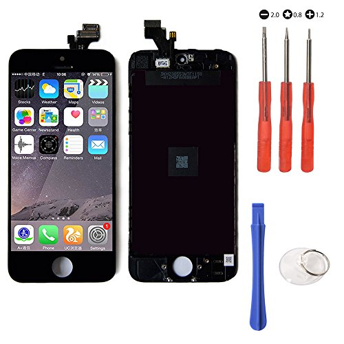 Mobofix Touch Screen Digitizer Assembly Replacement for iPhone 5 Black Glass LCD Display Free Repair Tool Kits Screen Protector Film Pantalla LCD Reemplazo para iPhone 5 Negro