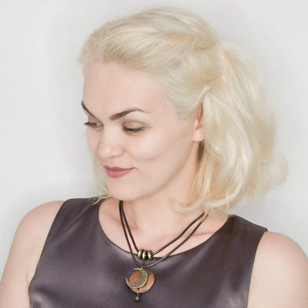 COOSTUFF ANNA Brown Wooden Choker Chunky Pendant Necklaces for Women