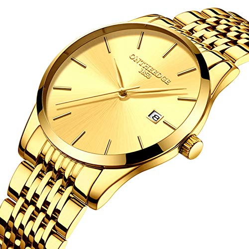 Relojes, Relojes de Cuarzo para Hombre, Reloj de Pulsera analógico de Moda Vestido Ultra Delgado de 30M Impermeable Reloj de Banda de Malla de Acero Inoxidable Cronógrafo