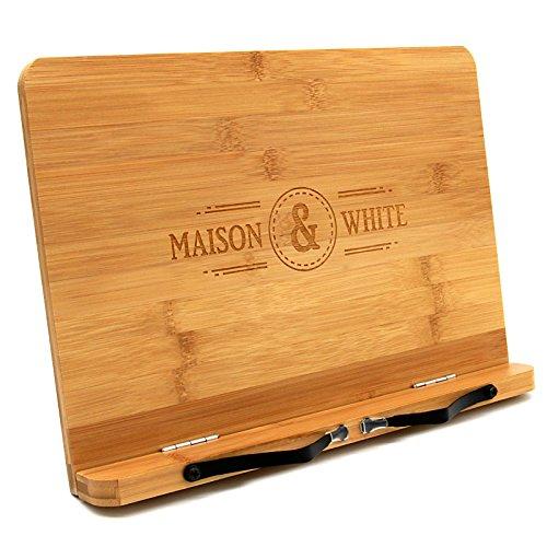 Bambus Bücherständer | Holzbuch & Tablet Rest | Kochbuch-Lesehalter mit 2 Metallseitenhaltern | Klappbarer & verstellbarer Ständer | M&W