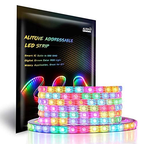 ALITOVE WS2812B Addressable LED Strip Light 16.4ft 300 LEDs Programmable Dream Color Digital LED Flexible Strip Pixel Light Waterproof IP65 5V DC for Home Bedroom Bar Decor Lighting