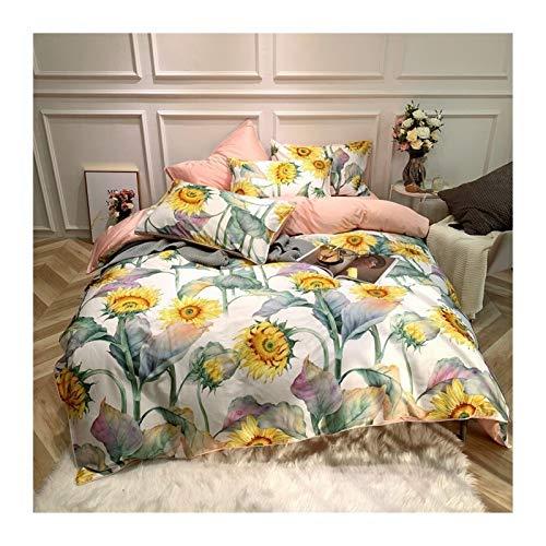 WLKJ Juego de edredón King Tamaño Hoja Yellow Bird Sedosa Flor Funda Nórdica Funda Nórdica Hoja Extragrande Funda nórdica Sábana (Color : 11, Size : Flat Sheet Style)
