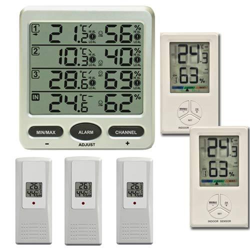 froggit FT0073 Funkthermometer mit 5 Funksensoren (3 x FT01 Funksensoren + 2 x FT Comfort Funksensoren) Luftfeuchte LCD Display Min/max