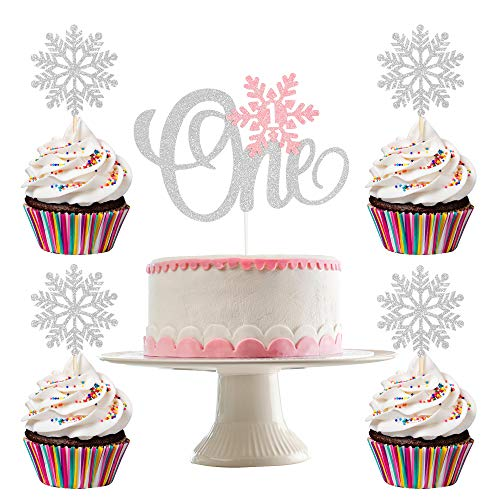Silver Glittery Snowflake One Cake Topper and 24Pcs Glittery Snowflake Cupcake Toppers- Winter Wonderland 1st Birthday Girl Decorations,Winter Onederland Cake Topper,Snowflake Cupcake Toppers Decorations