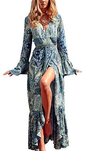 R.Vivimos Women Summer Long Sleeve Cardigan Sexy Maxi Long Dresses, 12/14, Lake Blue