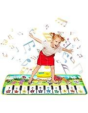 SANMERSEN ピアノミュージックマット 鍵盤 マット ミュージックマット 16鍵盤 ピアノ マット 8種類の楽器内蔵 スピーカー搭載 録音機能 再生機能 デモモード 知育玩具 サイズ 53.1 x 22.8インチ(135 x 58 cm)