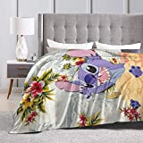 Heavenly Battle Cartoon Lilo Stitch Supernatural Winter Ultra-Soft Micro Flano Bed Blankets Luxurious Cozy Printed Fluffy Plush Blanket for Couch Chair Living Room 50'x40'