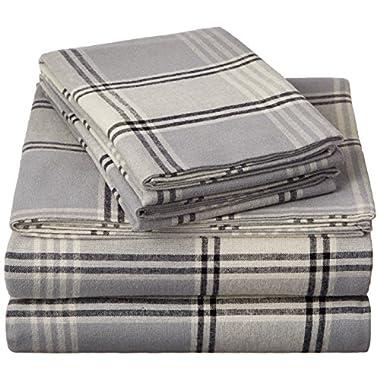 Pinzon 160 Gram Plaid Flannel Sheet Set - Queen, Grey Plaid