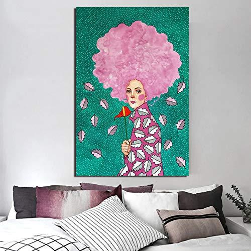 KWzEQ Nordische Plakatmädchen rosa Leinwandmalerei Wohnzimmer Hauptdekoration Ölgemälde Moderne Wandkunst,Rahmenlose Malerei,60x90cm