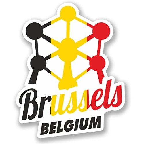 2 x 10cm/100 mm Bruselas, Bélgica Etiqueta autoadhesiva de vinilo adhesivo portátil de viaje equipaje signo coche divertido #4347