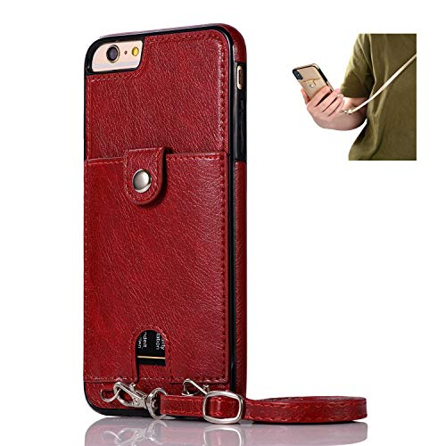 Jaorty PU Leather Wallet Case for iPhone 6 Plus/6S Plus Necklace Lanyard Case Cover with Card Holder Adjustable Detachable Anti-Lost Neck Strap for 5.5 inch Apple iPhone 6 Plus,iPhone 6S Plus,Red