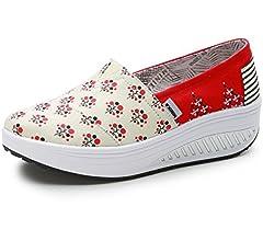 Zapato de Moda Compensado Sin Cordones Lienzo Zapatillas Creepers Punk Moda Resistencia Rojo 35(Recomendar tamaño uno más): Amazon.es: Zapatos y complementos