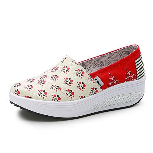 Zapato de Moda Compensado Sin Cordones Lienzo Zapatillas Creepers Punk Moda Resistencia Rojo 39(Recomendar tamaño uno más)
