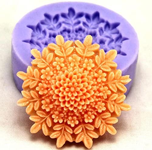 Moldes de silicona, mini moldes de silicona para decoración de pasteles, jabón, fondant, azúcar, chocolate, forma de flor, azúcar, caramelo, cocina, 38 x 38 x 15 mm