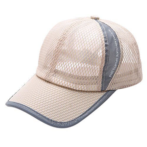 Unisex Summer Baseball Hat Sun Cap Lightweight Mesh Quick Dry Hats Adjustable Cap Cooling Sports Caps Khaki