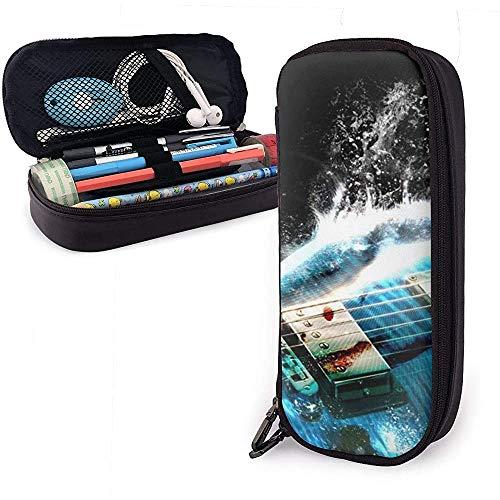 PU lederen etui met rits, elektrische gitaar grote capaciteit opslag markeerstift houder make-up tas