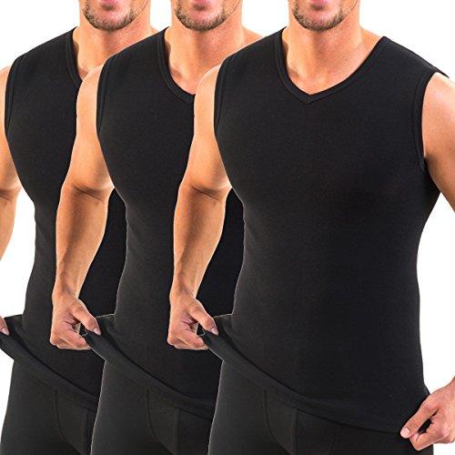 HERMKO 3050 3er Pack Herren Muskelshirt V-Ausschnitt (Weitere Farben) aus 100% Bio-Baumwolle, Größe:D 7 = EU XL, Farbe:schwarz