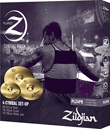 Zildjian PLZ4PK Planet Z Series - 14' Hi-Hats, 16' Crash, 20' Ride, 4 Cofanetto per piatti
