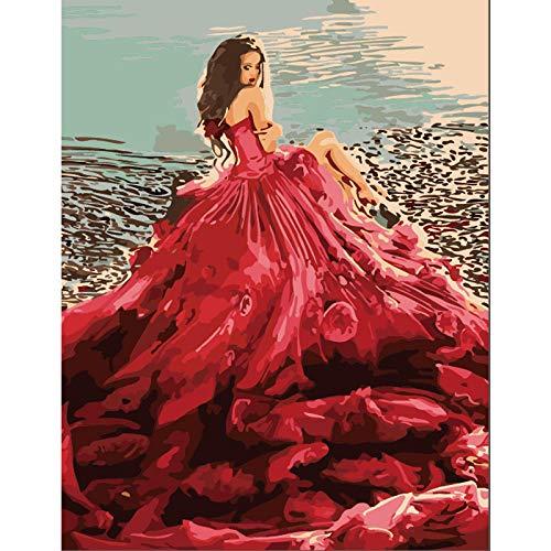 Zhonchng DIY Schilderen door Aantal Kits,Rode Jurk Meisje Olieverf Tekenen Canvas met Borstels Kerst Decor Decoraties Geschenken - 16 * 20 Inch Zonder frame