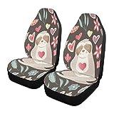 Qilmy 1 paquete de fundas de asiento delantero antideslizante para automóviles, asientos de cubo, para decoración universal, furgoneta, camioneta, SUV, lindo perezoso sueño con flores