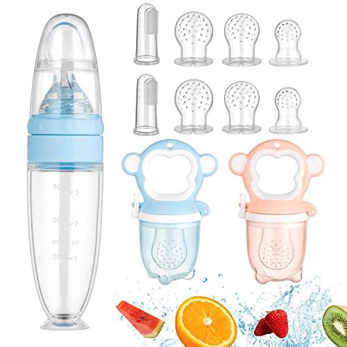 Ballery Chupete Fruta Bebe, 11 PCS Alimentador antiahogo Alimentador de Fruta bebe...