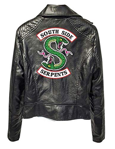 Riverdale Southside Serpents Jacke Damen, Teenager Mädchen Mode Lederjacke Coole Leder Pullover Frauen Slim Fit Sweatshirt Bauchfreier Pulli Kurz Crop Tops Oberteile Langarmshirts (A-Schwarz,S)