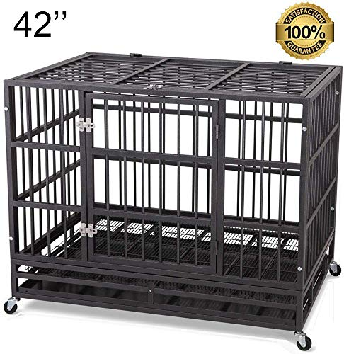 "JY QAQA PET 42"" Heavy Duty Dog Cage–Strong Folding Metal Crate Kennel and Playpen for Medium and Large Dogs with Double Door, Two Prevent Escape Lock, Tray and Wheels Basic Crates Dog Supplies Top"