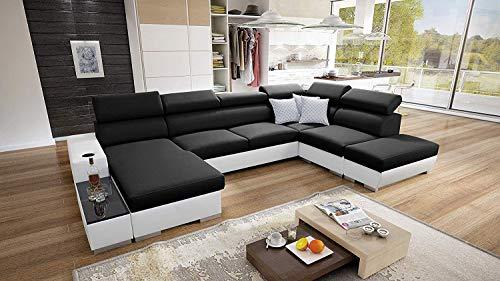 Wohnlandschaft Ecksofa Picanto mit Schlaffunktion Bettkasten Groß XXL Big Sofa Gewebe Kunstleder Grau Schwarz Blau Lila U-Form 26 (Links)