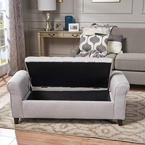 Christopher Knight Home Keiko Fabric Armed Storage Bench, Light Grey