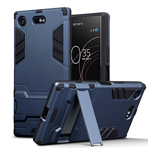 TERRAPIN, Kompatibel mit Sony Xperia XZ1 Compact Hülle, Silikon + Polycarbonat Tasche mit Standfunktion - Dunkelblau