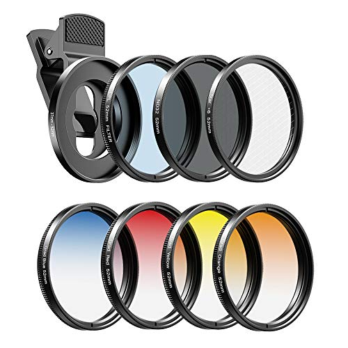 Apexel 52mm Filter Lens Kit (Graduated Filter Lens-Red Orange Yellow Blue, CPL, ND32, Star Lens-6 Point) for Smartphone Camera Canon Nikon Sony Olympus